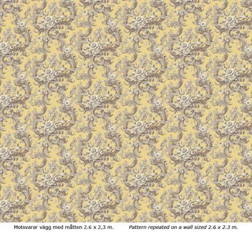 Lim & Handtryck Tapet - Franska buketten grå/gul