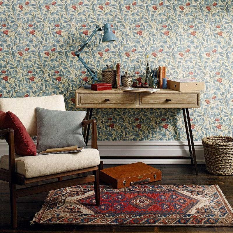 William Morris & Co. Wallpaper - Arbutus Woad/Russet