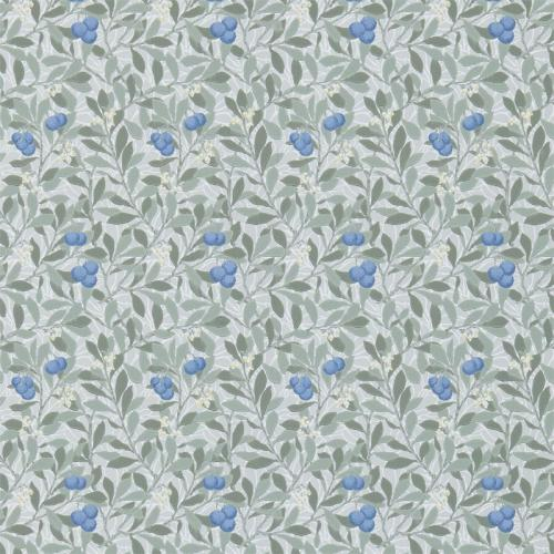 William Morris & Co. Tapet - Arbutus Silver/Cobalt - blommor och bär