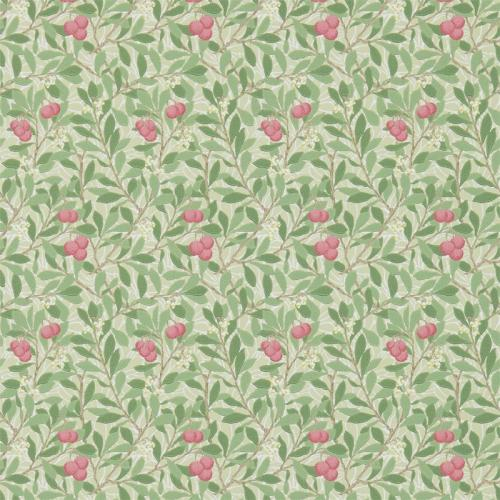 William Morris & Co. Tapet - Arbutus Olive/Pink - blommor och bär
