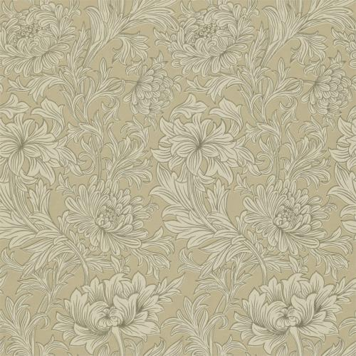 William Morris & Co. Tapet - Chrysanthemum Toile Ivory/Gold - gammaldags tapet med blommor
