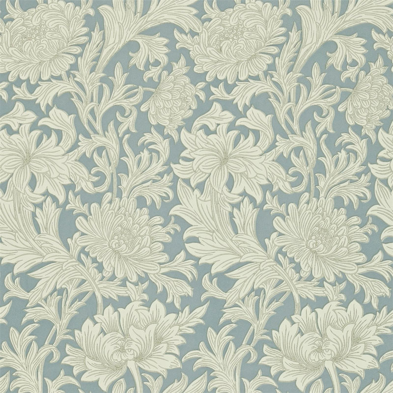 William Morris & Co. Wallpaper - Chrysanthemum Toile China Blue/Cream