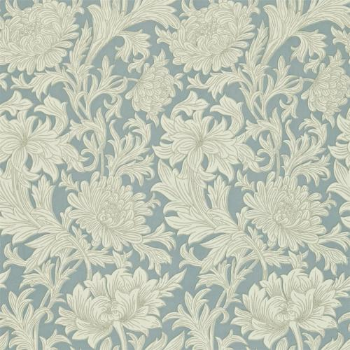 William Morris & Co. Wallpaper - Chrysanthemum Toile China Blue/Cream