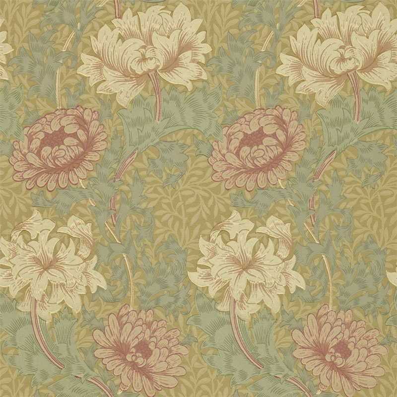 William Morris Co Classic Wallpapers Chrysanthemum Pink Yellow Green