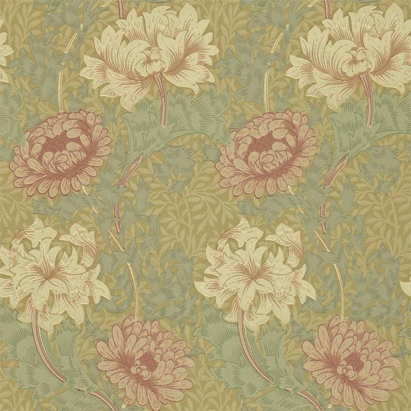 William Morris & Co. Wallpaper - Chrysanthemum Pink/Yellow/Green