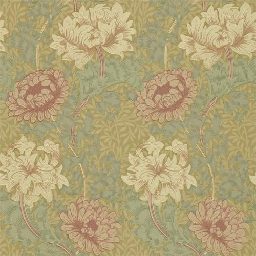 William Morris & Co. Wallpaper - Chrysanthemum Pink/Yellow/Green