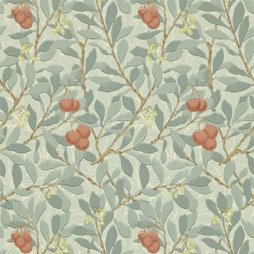 William Morris & Co. Tapet - Arbutus Blue/Pink - blommor och bär