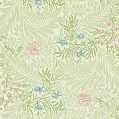 William Morris & Co. Tapet - Larkspur Green/Coral
