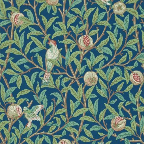 William Morris & Co. Wallpaper - Bird & Pomegranate Blue/Sage