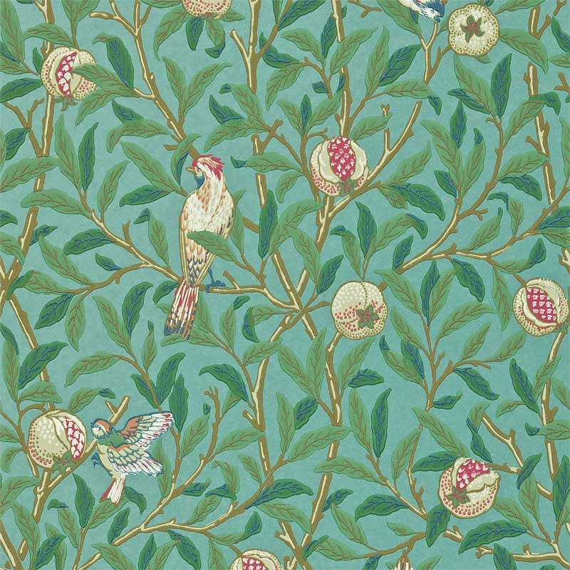 William Morris & Co. Wallpaper - Bird & Pomegranate Turquoise/Coral
