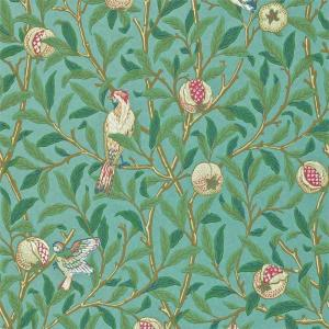 William Morris & Co. Tapet - Bird & Pomegranate Turquoise/Coral