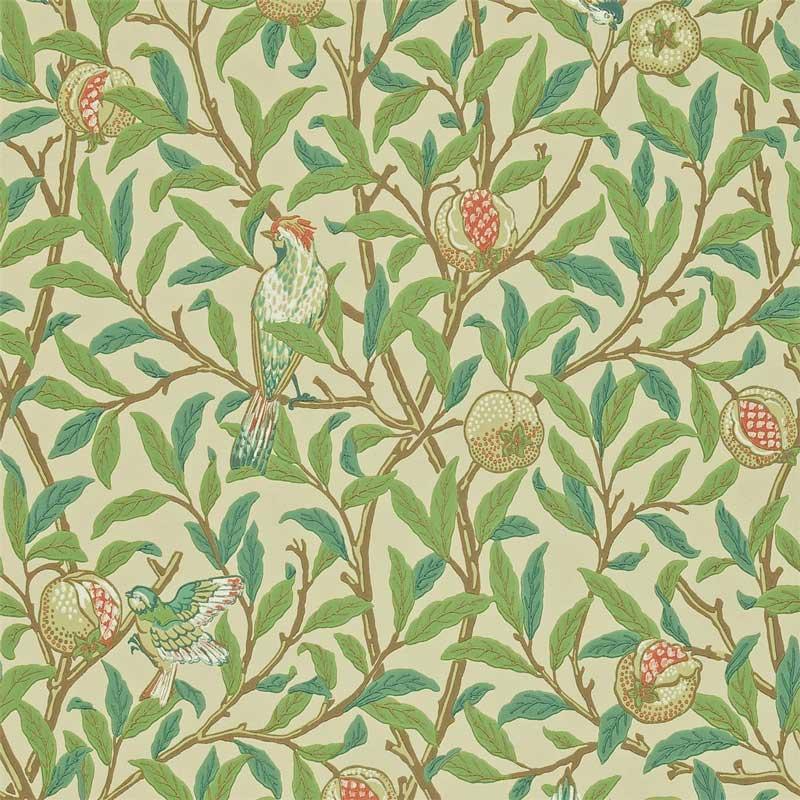 William Morris & Co. Wallpaper - Bird & Pomegranate Bayleaf/Cream