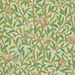 William Morris & Co. Wallpaper - Bird & Pomegranate Bayleaf/Cream