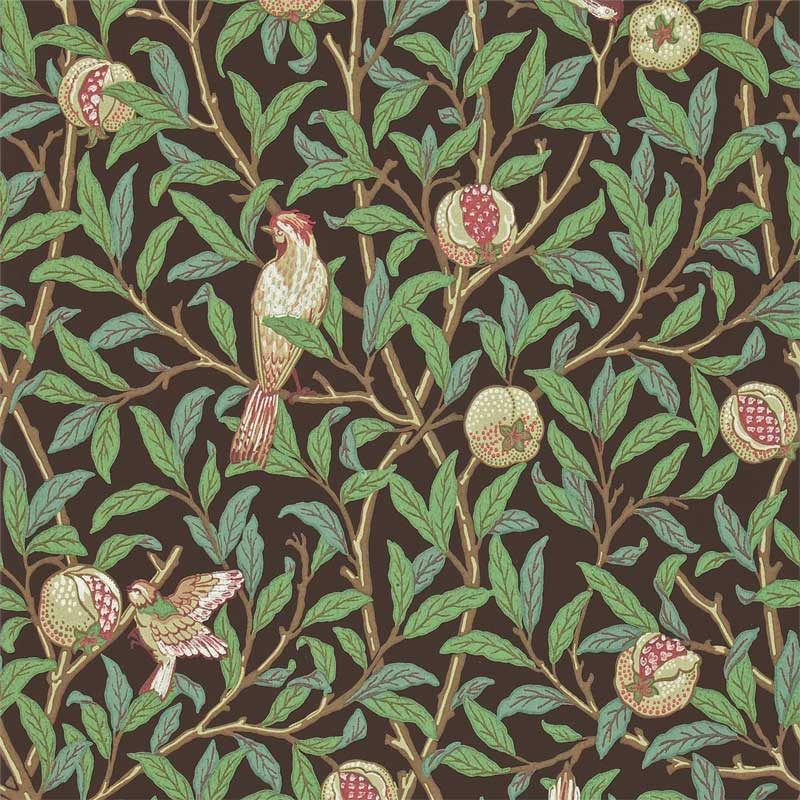 William Morris & Co. Wallpaper - Bird & Pomegranate Charcoal/Sage