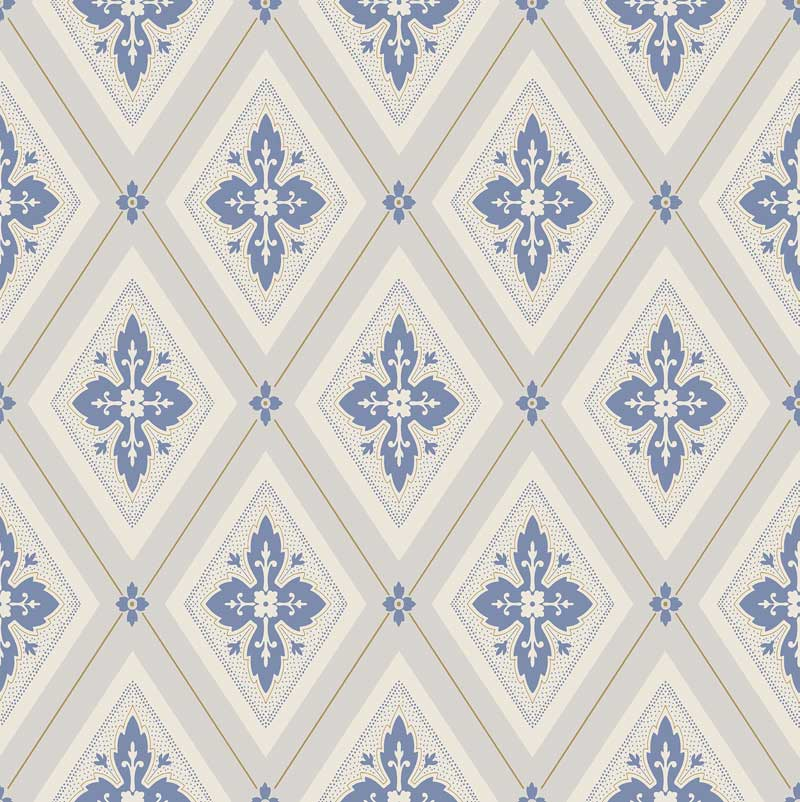 Duro Tapet - Astrid - Beige/Blå - sekelskiftesstil - gammaldags inredning - klassisk stil - retro