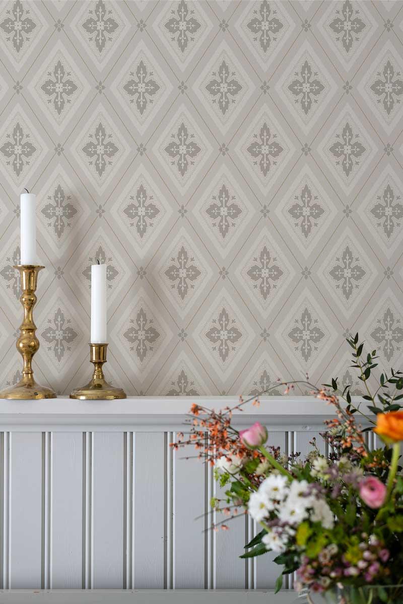 Duro Tapet - Astrid - Guld/Beige - sekelskiftesstil - gammaldags inredning - klassisk stil - retro