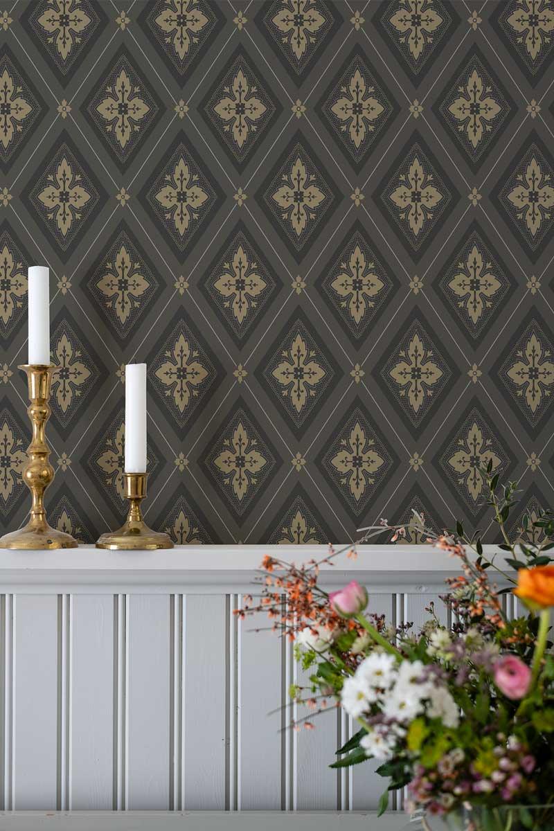 Duro Tapet - Astrid - Guld/Svart - sekelskiftesstil - gammaldags inredning - klassisk stil - retro