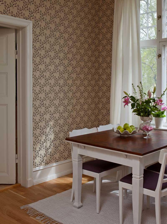Duro Tapet - Elsagården - Beige/Svart - sekelskiftesstil - gammaldags inredning - klassisk stil - retro
