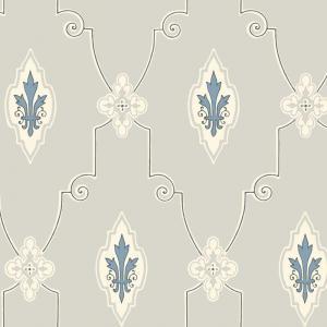 Duro Tapet -Liljesal - Grå/Blå - sekelskiftesstil - gammaldags inredning - klassisk stil - retro