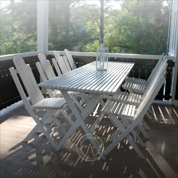 White Garden Table - Jugend style, foldable - retro