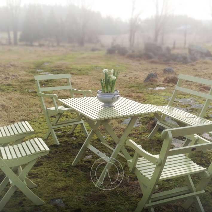 Trädgårdsstol - Karmstol 1920-tal, hopfällbar - sekelskiftesstil - gammaldags inredning - klassisk stil - retro