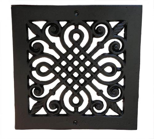 Cast Iron Ventilation Grid ornamented - 220 mm - oldschool - vintage style - classic style