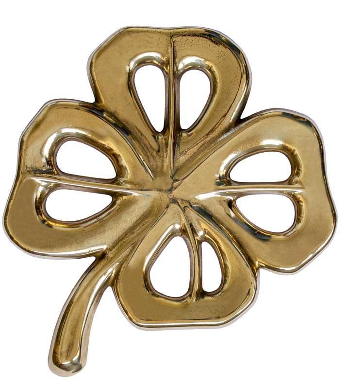 Trivet antique brass -  Four-leaf clover