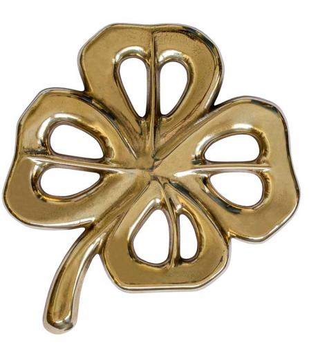 Trivet antique brass -  Four-leaf clover
