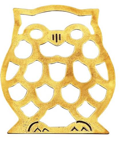 Brass trivet - Owl - classic style - vintage interior - retro - old fashioned style
