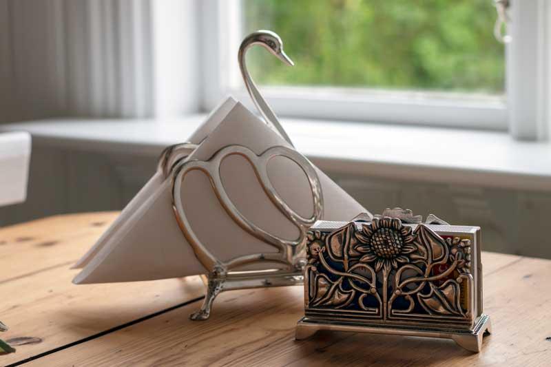 Toast- & servettställ silver - Svan - gammaldags inredning - klassisk stil - retro - sekelskifte