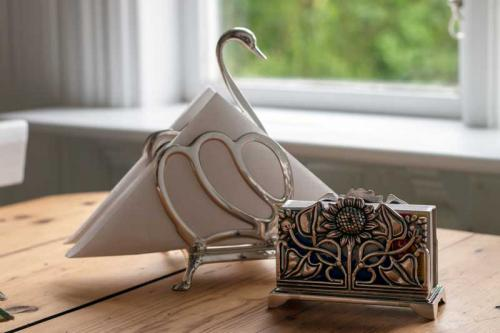 Matchbox Holder & Letter Holder - Art Nouveau silver