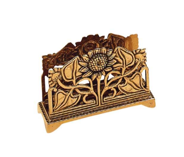 Hållare i tändsticksask, brev eller servetter - mässing - jugend - gammaldags inredning - klassisk stil - retro - sekelskifte