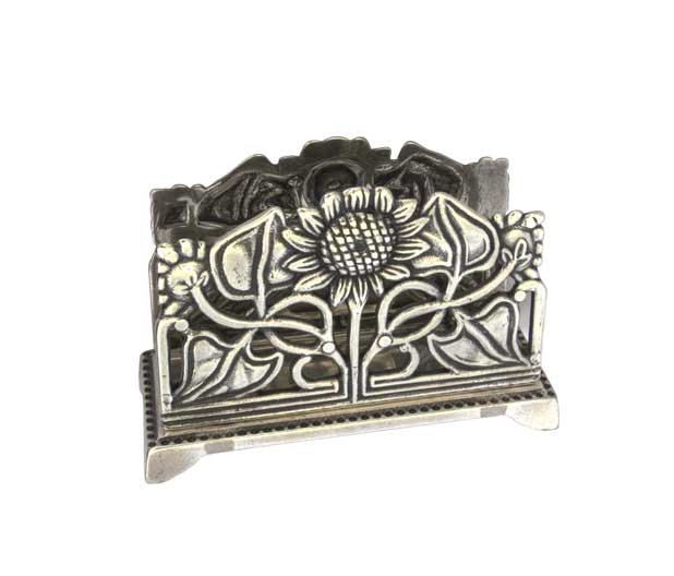 Matchbox Holder & Letter Holder - Art Nouveau silver
