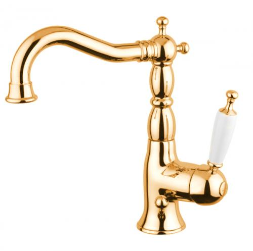 Old-style washbasin Mixer in untreated brass - old style - vintage style - classic interior - retro