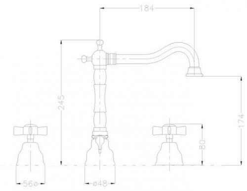Washbasin Mixer - Princeton 3 holes