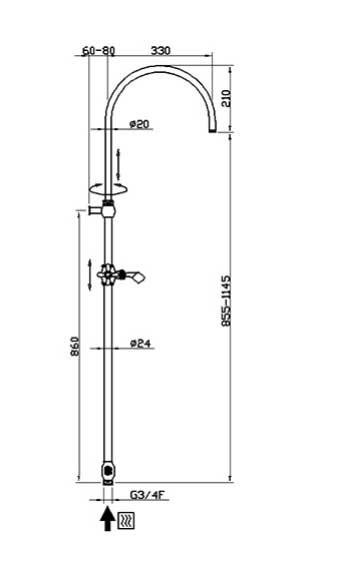 Measures shower Kit - Kensington retro without mixer