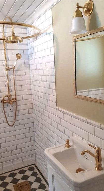 Dusjsett - Kensington retro uten blandebatteri messing - arvestykke - gammeldags dekor - klassisk stil - retro