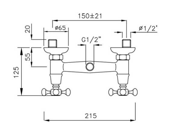 Measures Old style Shower Valve - Kensington chrome