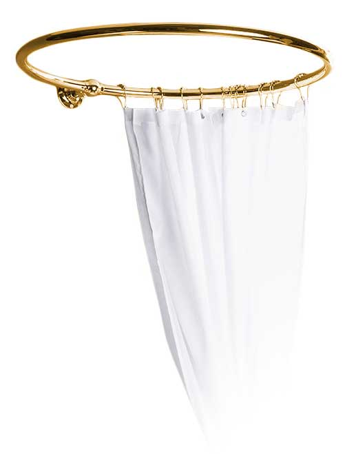 Shower curtain holder - Round 80 cm brass