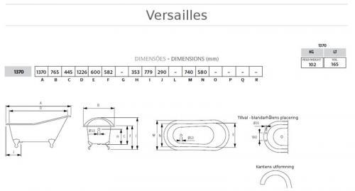 Bathtub - Versailles white cast iron 137 imperial