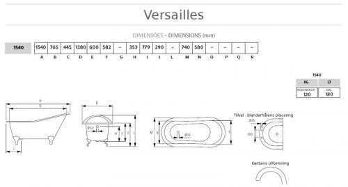 Bathtub - Versailles white cast iron 154 imperial