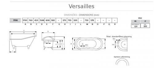 Bathtub - Versailles white cast iron 170 imperial