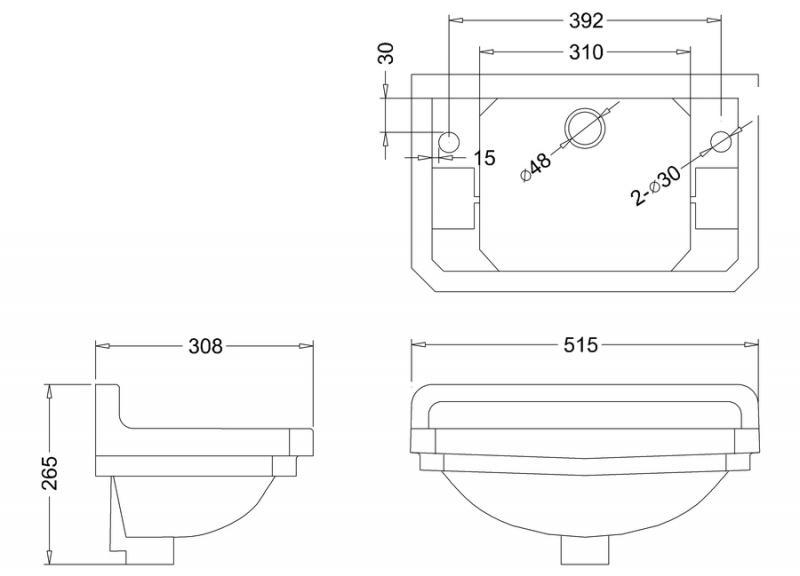 Tvättställ - Burlington Edwardian JR 51 cm med kromställning - klassisk inredning - sekelskifte - gammal stil