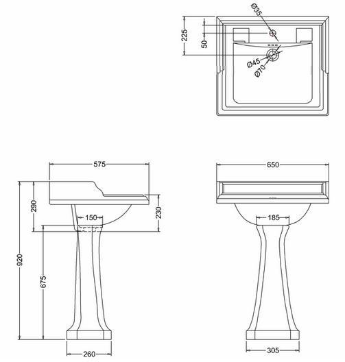 Tvättställ - Burlington Classic piedestal - sekelskifte - gammal stil - retro
