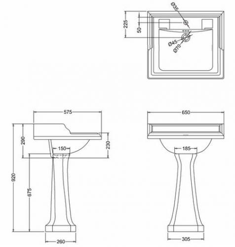 Tvättställ - Burlington Classic, pedestal