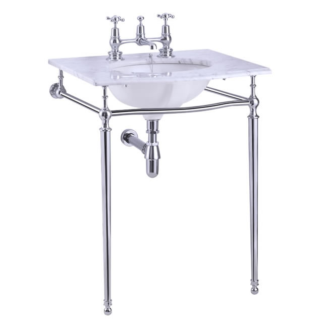 Wash Basin - Burlington Carrara marble 65 cm, chrome stand