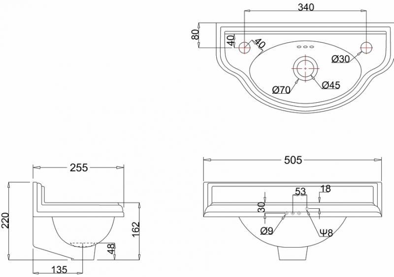 Tvättställ - Burlington Classic JR 50 cm ovalt - klassisk stil - sekelskifte - gammal stil