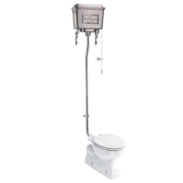 WC - Burlington høytspylende toalett, metallsisterne og sete - arvestykke - gammeldags dekor - klassisk stil - retro