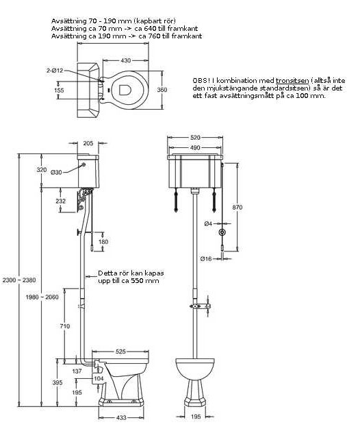 Dimensions WC - Burlington high level toilet, wall tank & seat