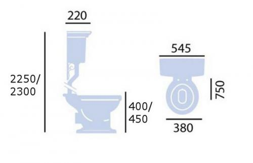 Measurments - WC Heritage Blenheim high level toilet - oldschool style - vintage interior - classic style - retro